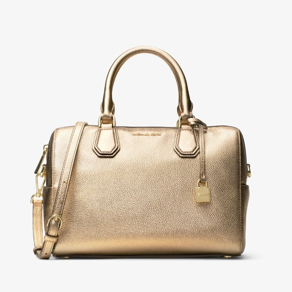 a1d218e7e90b Michael Kors Mercer Pale Gold Leather Duffle Bag